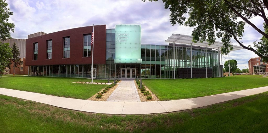 LEED-certified University of North Dakota Gorecki Alumni Center.